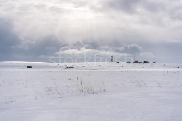 Маяк рыбак Запад побережье пейзаж снега Сток-фото © MikhailMishchenko