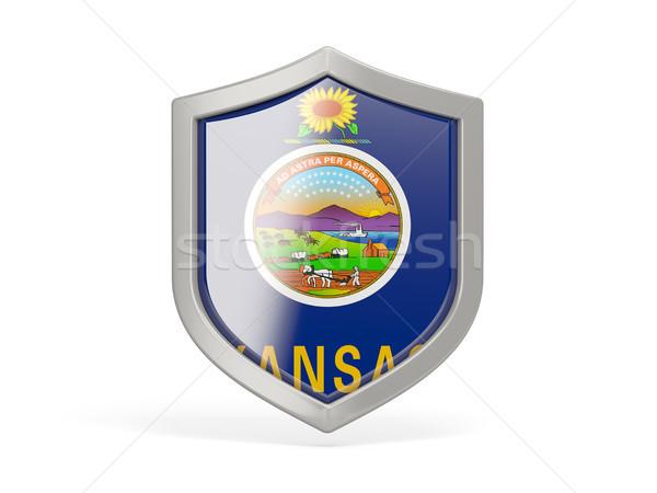 Shield icon with flag of kansas. United states local flags Stock photo © MikhailMishchenko
