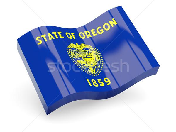 Foto stock: Ondulado · ícone · Oregon · bandeira · EUA