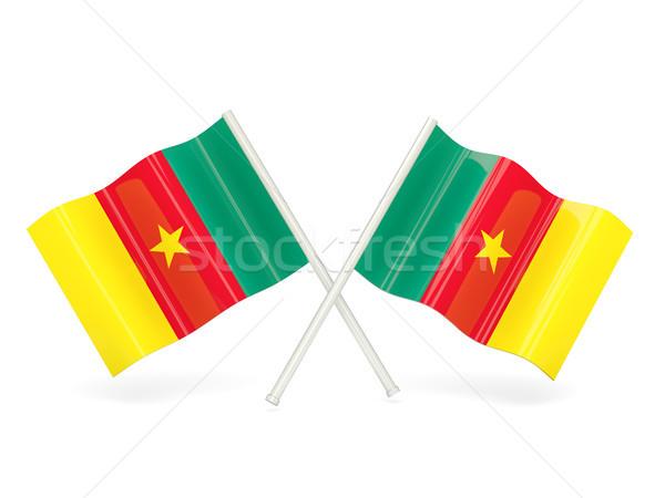 Bandeira Camarões dois ondulado bandeiras isolado Foto stock © MikhailMishchenko