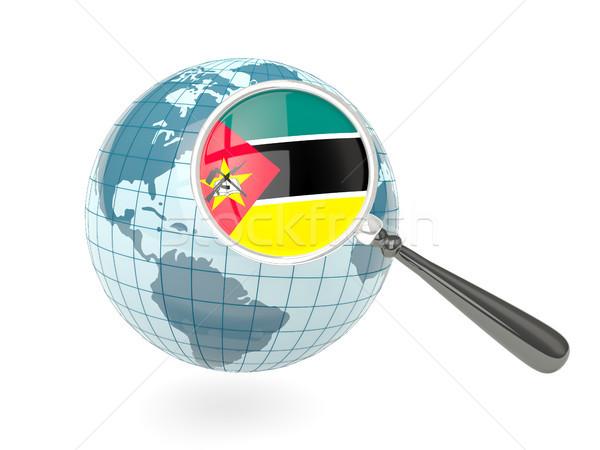 Magnified flag of mozambique with blue globe Stock photo © MikhailMishchenko