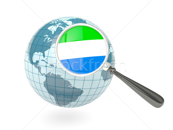 Magnified flag of sierra leone with blue globe Stock photo © MikhailMishchenko