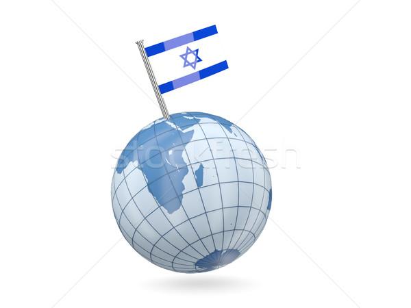 Wereldbol vlag Israël Blauw geïsoleerd witte Stockfoto © MikhailMishchenko