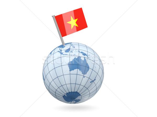 Monde pavillon Viêt-Nam bleu isolé blanche Photo stock © MikhailMishchenko