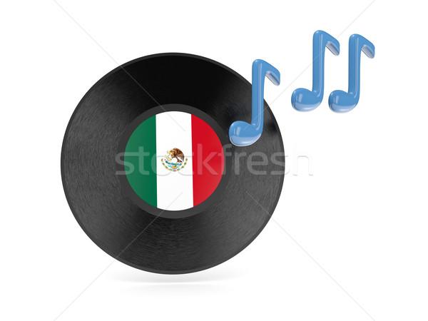 Vinyl schijf vlag Mexico geïsoleerd witte Stockfoto © MikhailMishchenko