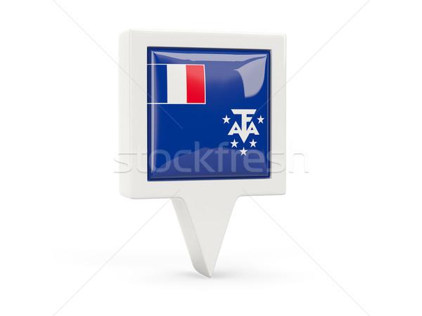 квадратный флаг икона французский южный изолированный Сток-фото © MikhailMishchenko