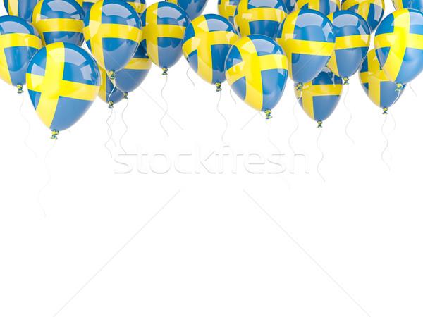 Pallone frame bandiera Svezia isolato bianco Foto d'archivio © MikhailMishchenko