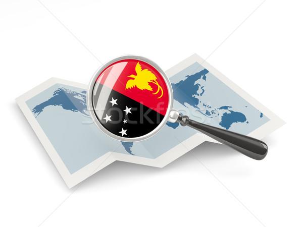 拡大された フラグ パプアニューギニアの 地図 旅行 ストックフォト © MikhailMishchenko