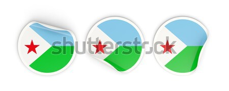 Ikona banderą Dżibuti odizolowany biały podróży Zdjęcia stock © MikhailMishchenko