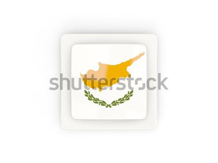 Vierkante icon vlag Cyprus metaal frame Stockfoto © MikhailMishchenko
