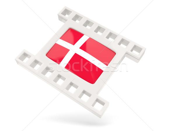 Film icon vlag Denemarken geïsoleerd witte Stockfoto © MikhailMishchenko