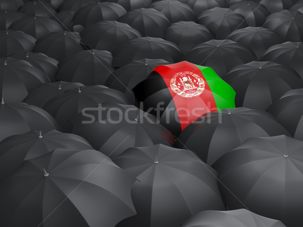 Guarda-chuva bandeira Afeganistão preto guarda-chuvas viajar Foto stock © MikhailMishchenko