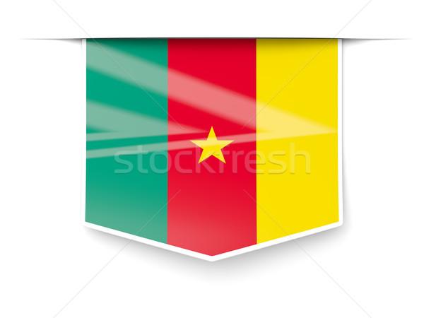 Praça etiqueta bandeira Camarões isolado branco Foto stock © MikhailMishchenko