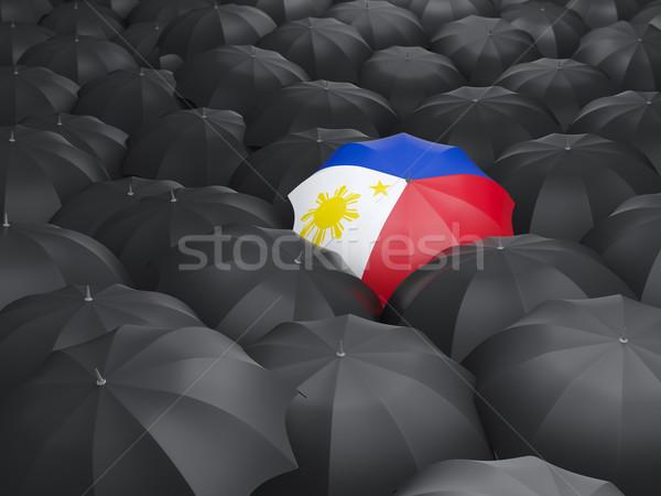 Parapluie pavillon Philippines noir parapluies Voyage Photo stock © MikhailMishchenko