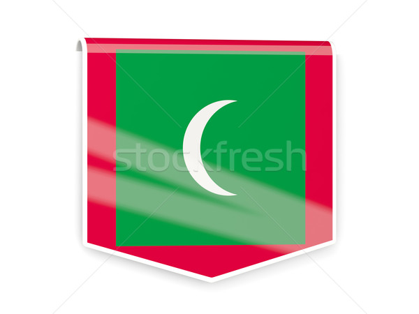 Bayrak etiket Maldivler yalıtılmış beyaz imzalamak Stok fotoğraf © MikhailMishchenko