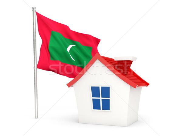 Ev bayrak Maldivler yalıtılmış beyaz ev Stok fotoğraf © MikhailMishchenko
