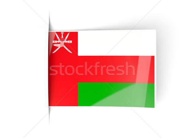 Kare etiket bayrak Umman yalıtılmış beyaz Stok fotoğraf © MikhailMishchenko