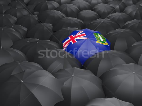 Esernyő zászló Virgin-szigetek brit fekete esernyők Stock fotó © MikhailMishchenko
