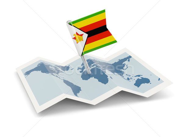 Map with flag of zimbabwe Stock photo © MikhailMishchenko