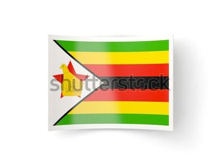 Zászló címke Zimbabwe izolált fehér felirat Stock fotó © MikhailMishchenko