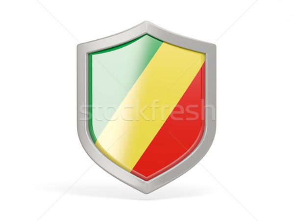 Kalkan ikon bayrak cumhuriyet Kongo yalıtılmış Stok fotoğraf © MikhailMishchenko