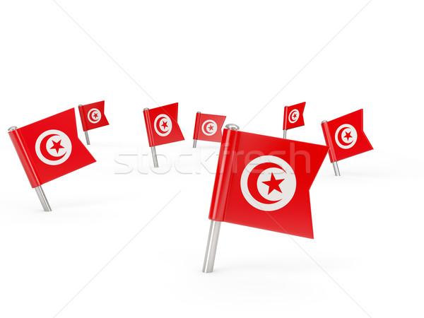 квадратный флаг Тунис изолированный белый стране Сток-фото © MikhailMishchenko