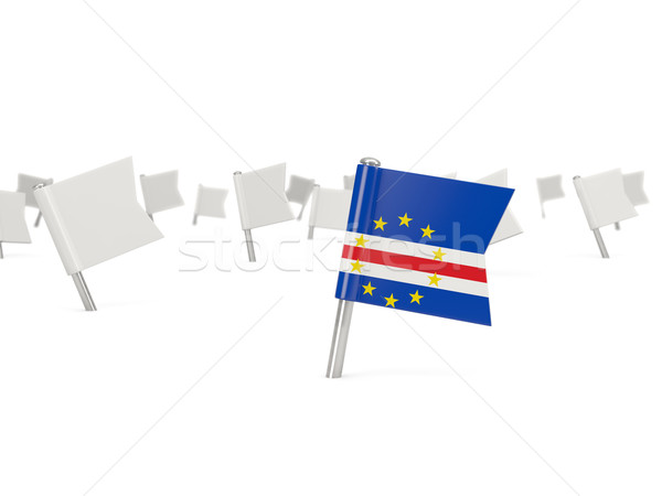 Square pin with flag of cape verde Stock photo © MikhailMishchenko