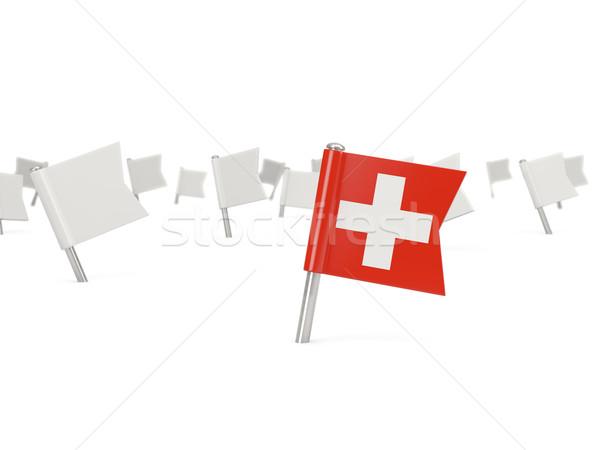Kare pin bayrak İsviçre yalıtılmış beyaz Stok fotoğraf © MikhailMishchenko