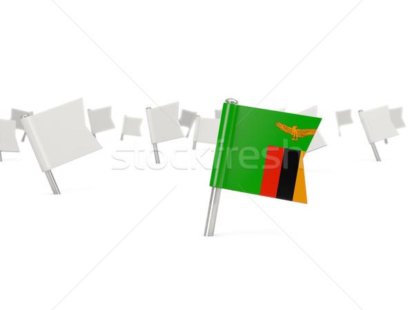 Kare pin bayrak Zambiya yalıtılmış beyaz Stok fotoğraf © MikhailMishchenko