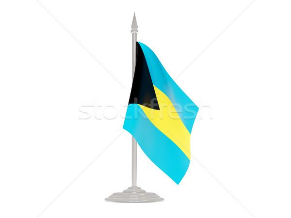 Bandera Bahamas asta de bandera 3d aislado blanco Foto stock © MikhailMishchenko