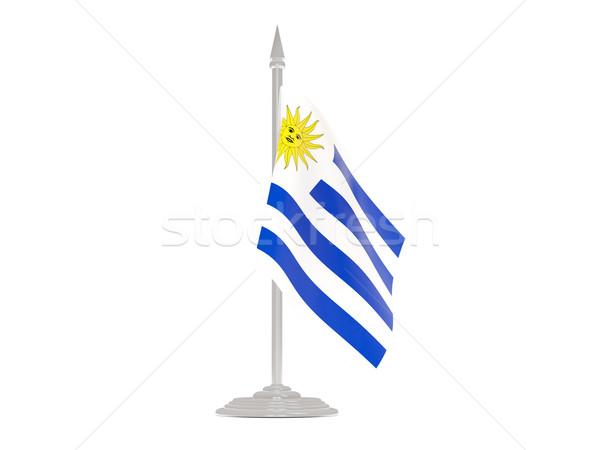 флаг Уругвай флагшток 3d визуализации изолированный белый Сток-фото © MikhailMishchenko