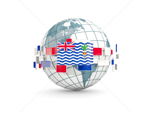 Stock photo: Globe with flag of british indian ocean territory isolated on wh