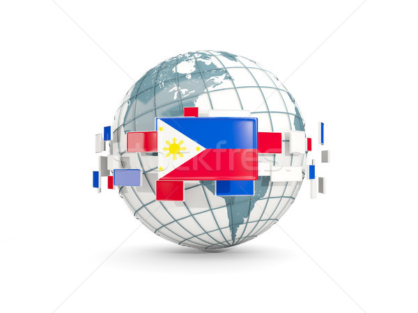 Globe with flag of philippines isolated on white Stock photo © MikhailMishchenko