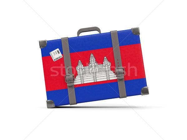 荷物 フラグ カンボジア スーツケース 孤立した 白 ストックフォト © MikhailMishchenko