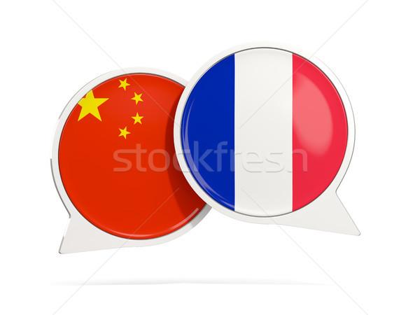 чате пузырьки Китай Франция изолированный белый Сток-фото © MikhailMishchenko