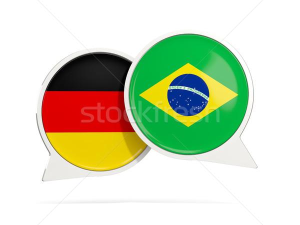Sohbet kabarcıklar Almanya Brezilya yalıtılmış beyaz Stok fotoğraf © MikhailMishchenko