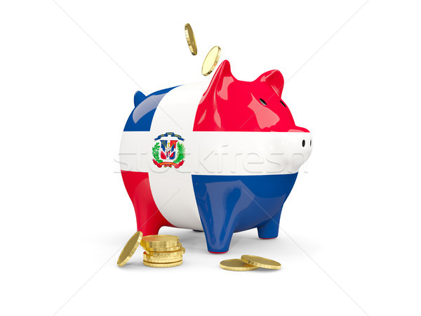 Fat piggy bank with fag of dominican republic Stock photo © MikhailMishchenko