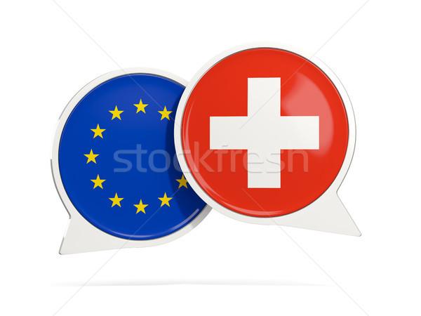 Chat pęcherzyki eu Szwajcaria odizolowany biały Zdjęcia stock © MikhailMishchenko