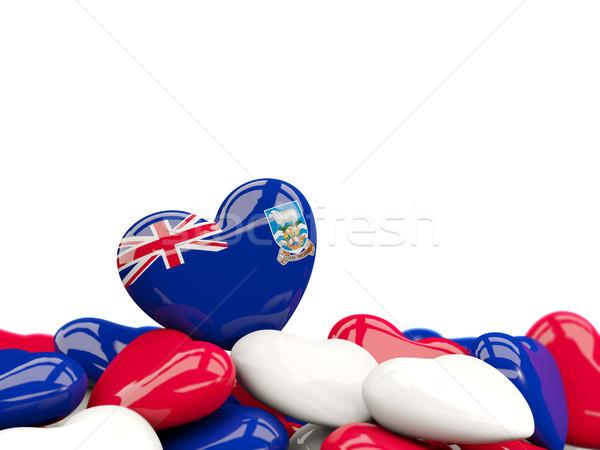 Szív zászló Falkland-szigetek felső szívek izolált Stock fotó © MikhailMishchenko