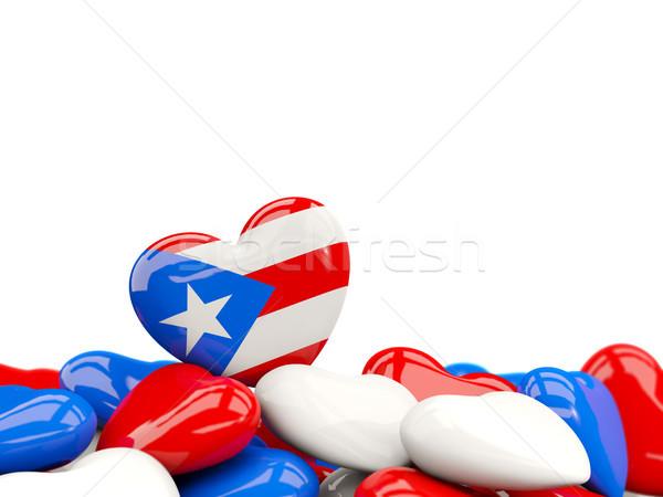 Hart vlag Puerto Rico top harten geïsoleerd Stockfoto © MikhailMishchenko