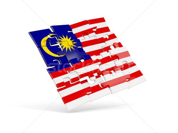 Bilmece bayrak Malezya yalıtılmış beyaz 3d illustration Stok fotoğraf © MikhailMishchenko