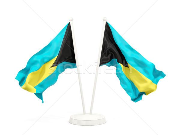Dois bandeiras Bahamas isolado branco Foto stock © MikhailMishchenko