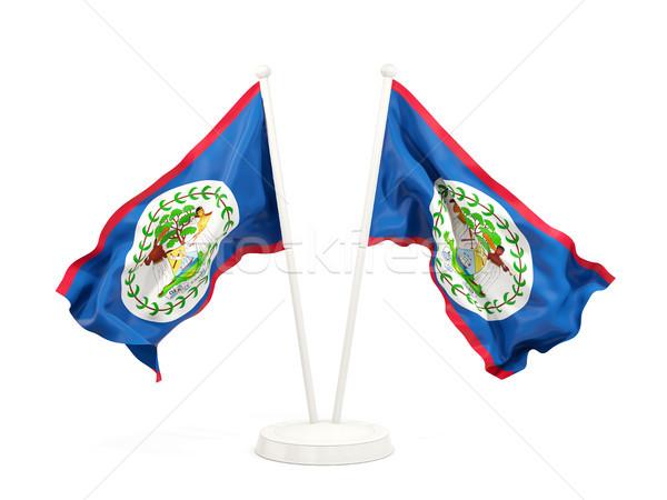 Stock fotó: Kettő · integet · zászlók · Belize · izolált · fehér