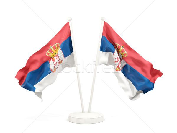 Dois bandeiras Sérvia isolado branco Foto stock © MikhailMishchenko