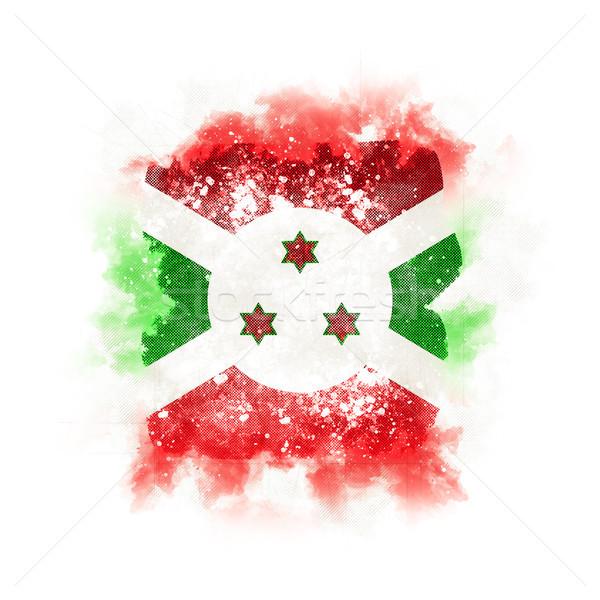 Foto stock: Praça · grunge · bandeira · Burundi · ilustração · 3d · retro