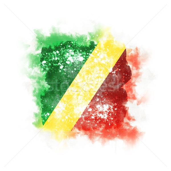 Kare grunge bayrak cumhuriyet Kongo 3d illustration Stok fotoğraf © MikhailMishchenko