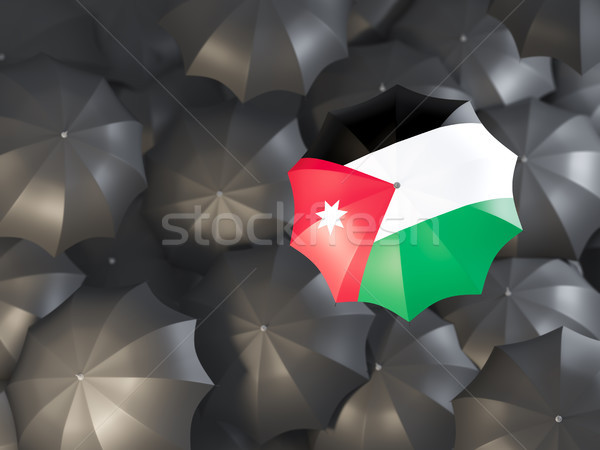 Parasol banderą Jordania górę czarny parasole Zdjęcia stock © MikhailMishchenko