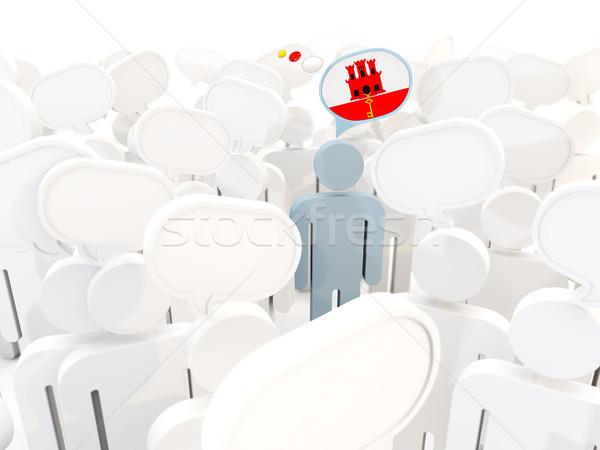 Człowiek banderą gibraltar tłum 3d ilustracji podpisania Zdjęcia stock © MikhailMishchenko