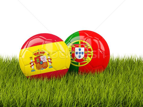 Spanje vs Portugal voetbal vlaggen groene Stockfoto © MikhailMishchenko