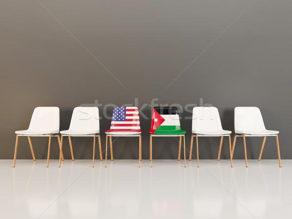 Krzesła banderą USA Jordania rząd 3d ilustracji Zdjęcia stock © MikhailMishchenko